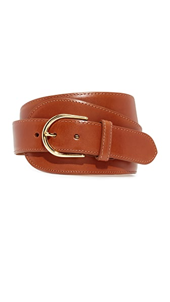 W.Kleinberg Glazed Leather Large Tab Belt In Cognac