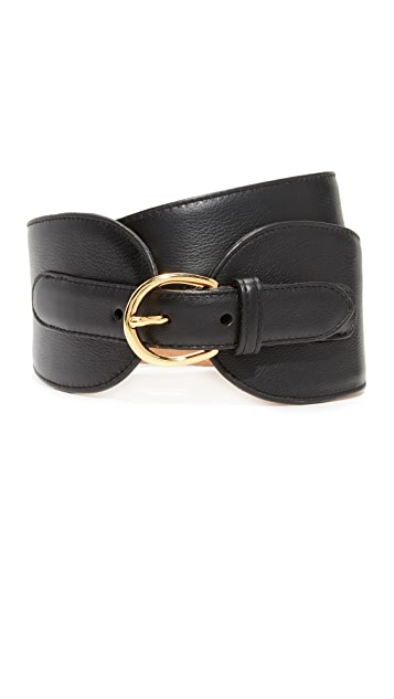 W.Kleinberg Wide Leather Double Tab Belt