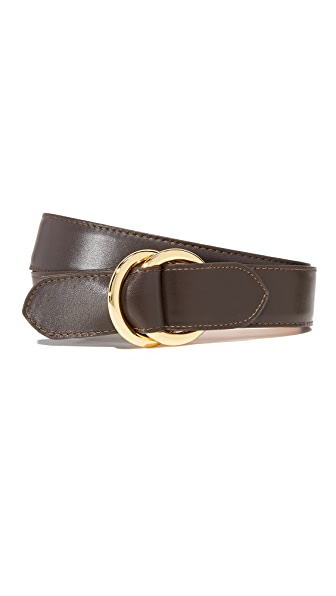 W.Kleinberg Leather O Ring Belt In Chocolate