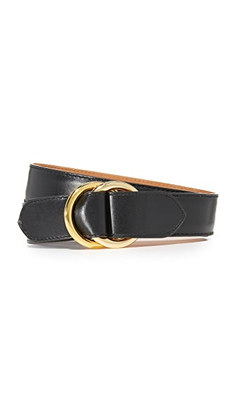 W.Kleinberg Leather O Ring Belt - Black