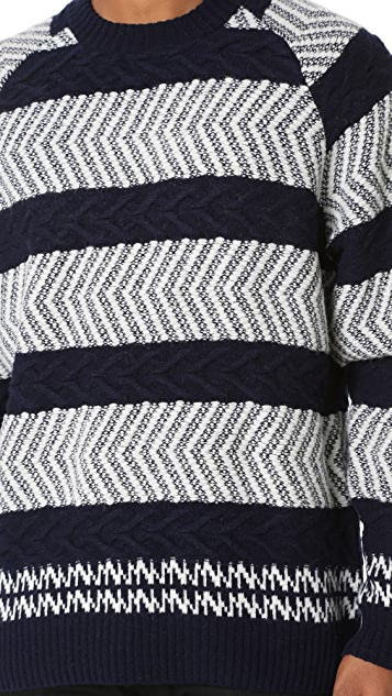 White Mountaineering Herringbone Pattern Round Neck Knit Sweater