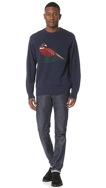 White Mountaineering Bird Pattern Intarsia Round Neck Knit Sweater