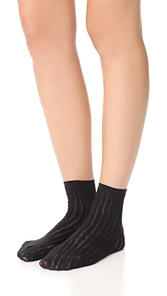 Wolford Striped Socks In Black