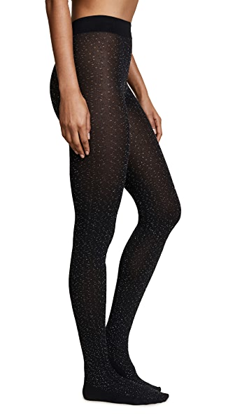 Wolford Metallic Fringe Tights In Black/Silver