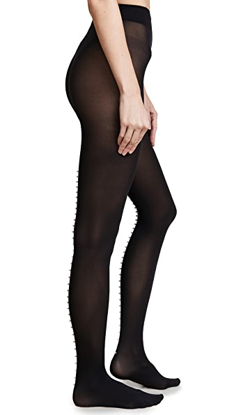 Wolford Imitation Pearl Back Seam Tights In Black/Pearl