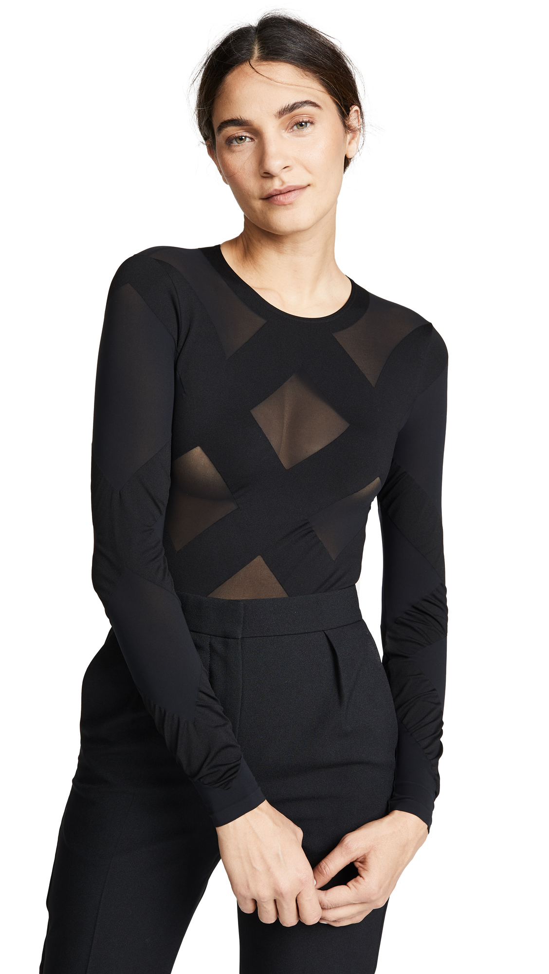 Wolford Anita String Bodysuit In Black/Black