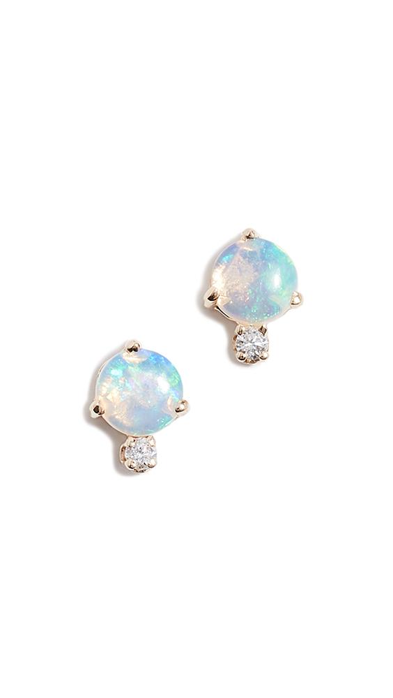 Wwake 14k Classic Opal and Diamond Earrings In Diamond/Opal