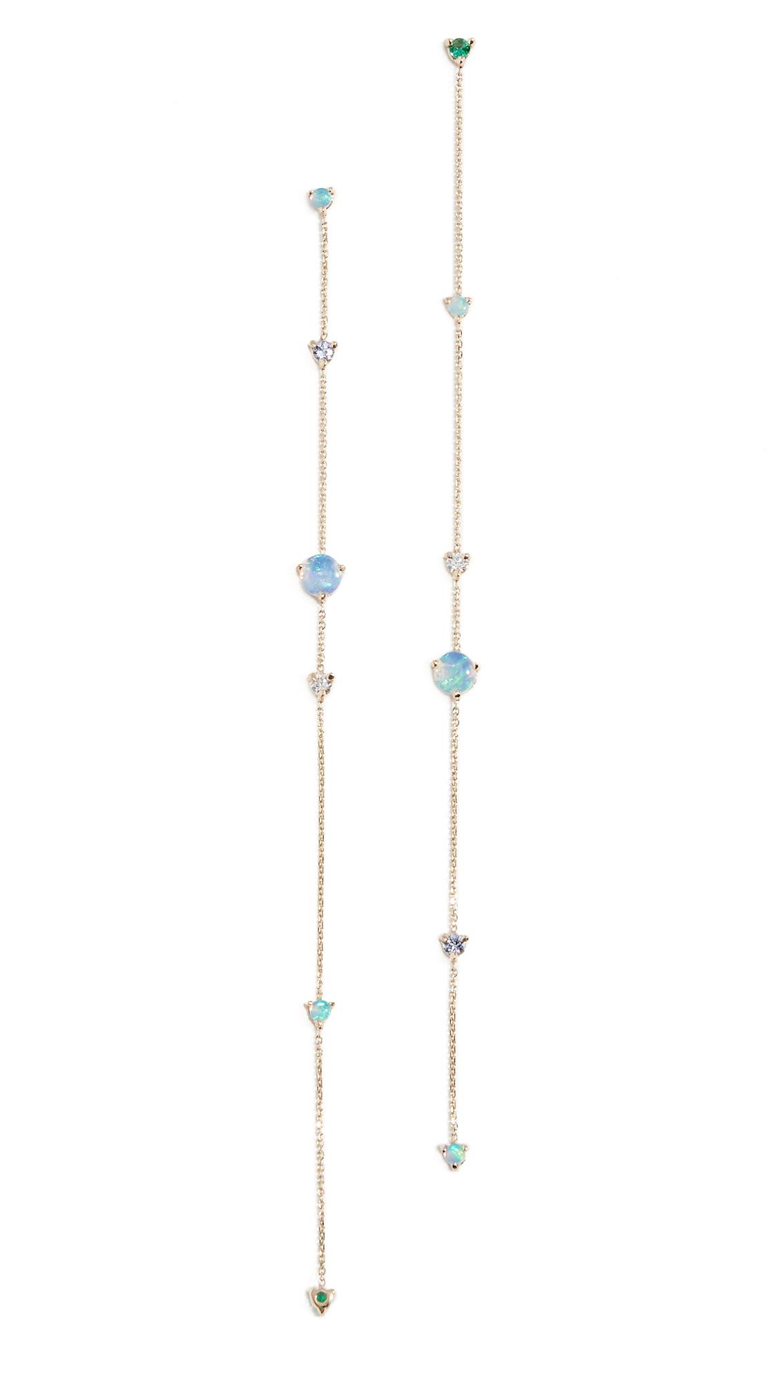 WWAKE 14K Linear Chain Earrings in Opal