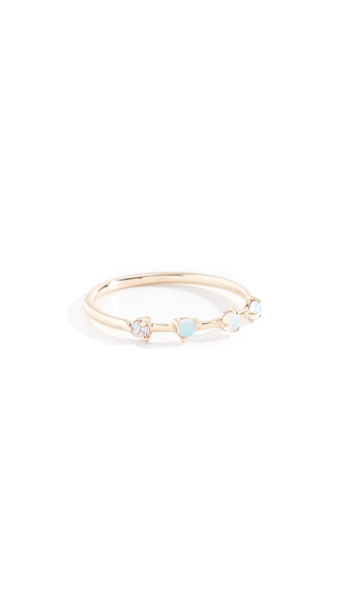 WWAKE 14K Four Step Ring in Diamond/Opal