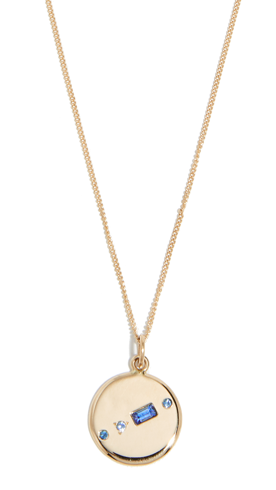WWAKE 14K Small Medallion Necklace in Sapphire