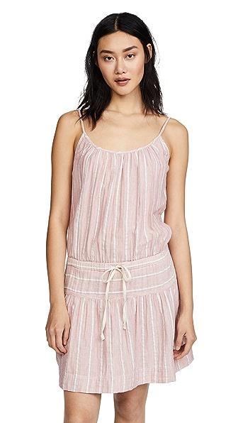 CHENNEDY V-NECK SHORT-SLEEVE STRIPED SEERSUCKER DRESS