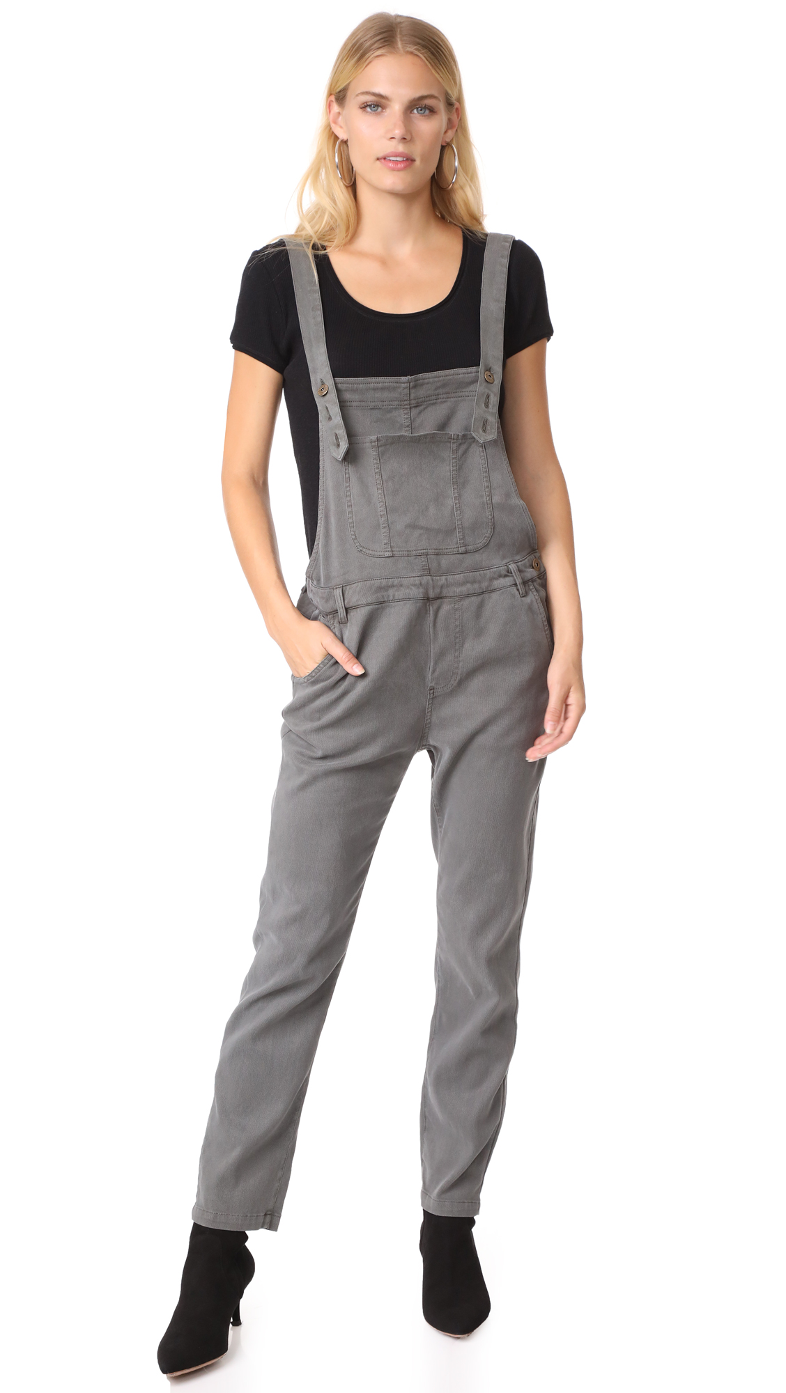 Young Fabulous & Broke YFB Clothing Slim Overalls - Grey