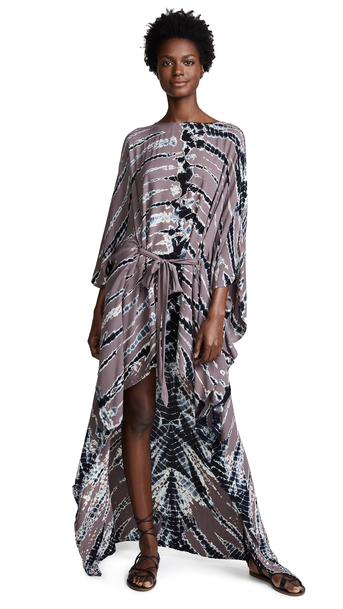 YOUNG FABULOUS & BROKE Jolie Printed High-Low Dress in Sugar Plum Frame Wash