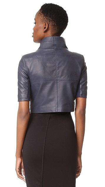 Yigal Azrouel Cropped Short Sleeve Leather Jacket