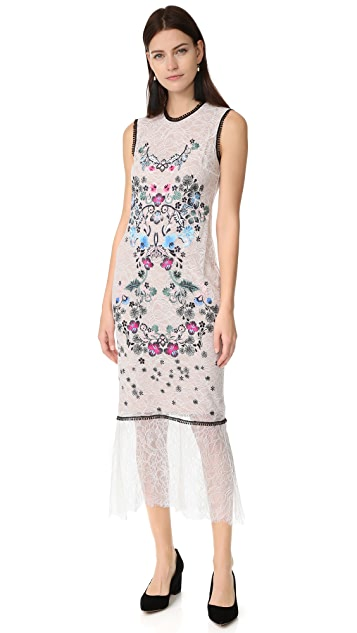 Yigal Azrouel Sleeveless Floral Embroidery Dress