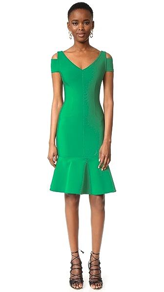 Yigal Azrouel Cap Sleeve Peplum Dress - Bright Green
