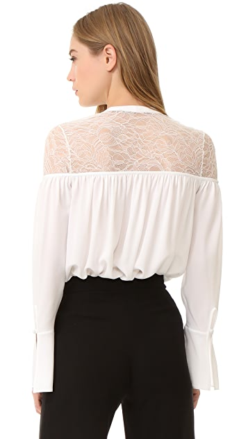 Yigal Azrouel Lace Up Ruched Top