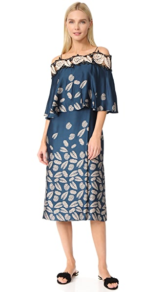 Yigal Azrouel Printed Off the Shoulder Dress In Mariner Blue