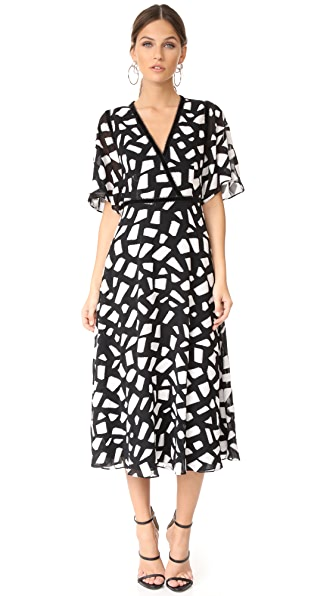 Yigal Azrouel Fit & Flare Dress - Jet/Optic