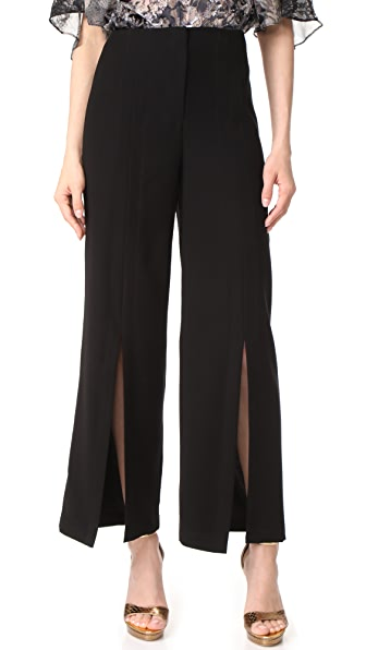 Yigal Azrouel Front Slit Wide Leg Pants - Black