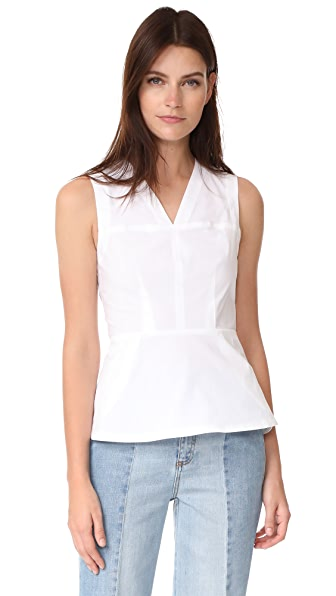 Yigal Azrouel V Neck Peplum Top - White