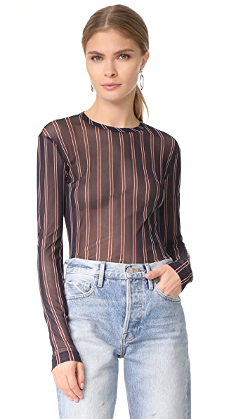 Yigal Azrouel Stripe Mesh Tee - Midnight Multi