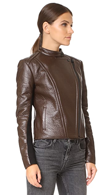 Yigal Azrouel Leather Jacket with Fur Collar