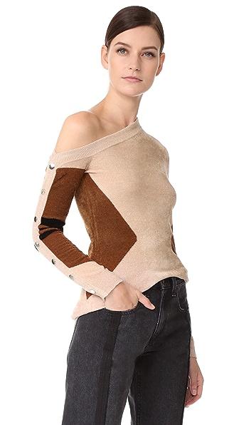 Yigal Azrouel One Shoulder Sweater In Hazelnut Brown
