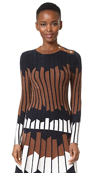 Yigal Azrouel Geometric Sweater In Hazelnut Multi