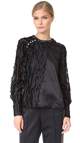 Yigal Azrouel Long Sleeve Fringe Top
