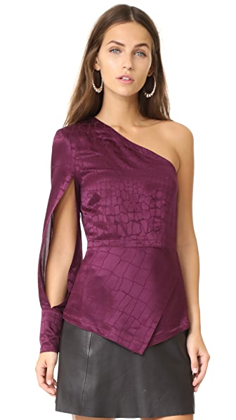 Yigal Azrouel One Shoulder Top In Wine