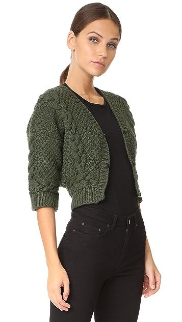 Yigal Azrouel Bolero Sweater with Fur Trim