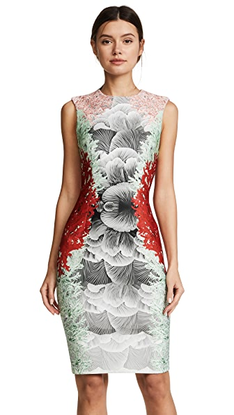 Yigal Azrouel Coral Print Dress In Rosebud/Scarlet/Seafoam/Grey