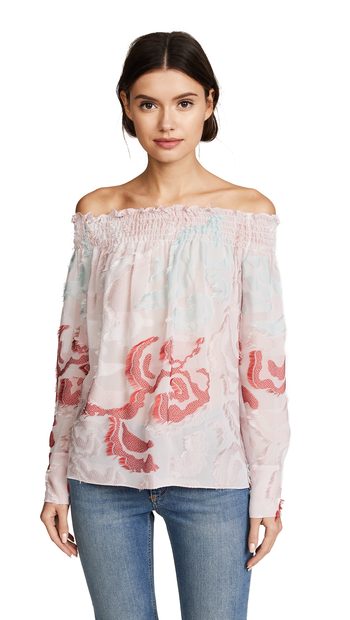 Yigal Azrouel Off the Shoulder Smocking Top - Blush Multi