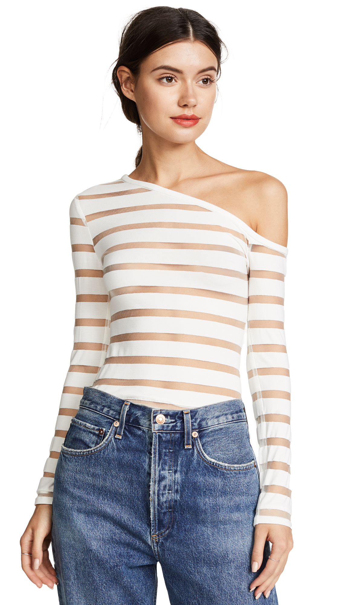 Yigal Azrouel One Shoulder Sheer Stripe Knit Top - Off White