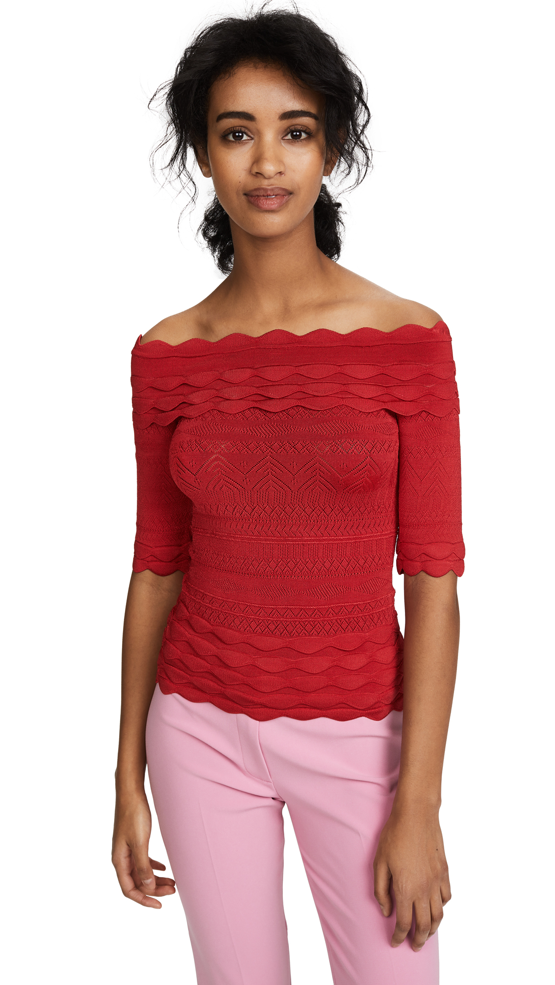 Yigal Azrouel Off the Shoulder Knit Top - Red