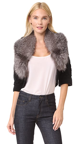 Yigal Azrouel Bolero Sweater with Fur