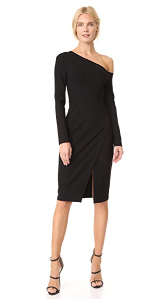 Yigal Azrouel 3/4 Sleeve One Shoulder Dress In Black