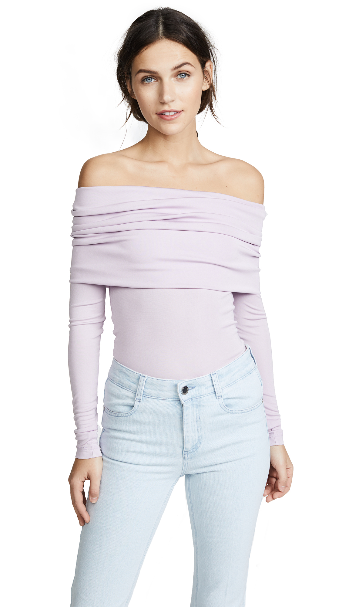 Yigal Azrouel OTS Long Sleeve Top In Lilac