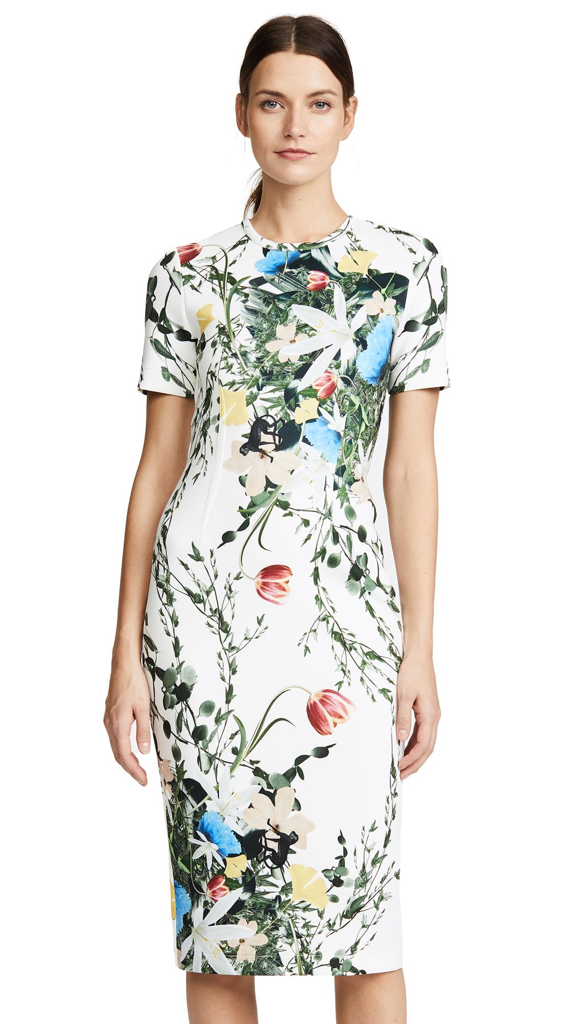 Yigal Azrouel Multi Floral Scuba Body Con Dress
