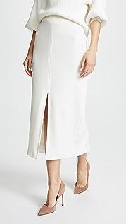 Yigal Azrouel Cream Suiting Slit Skirt