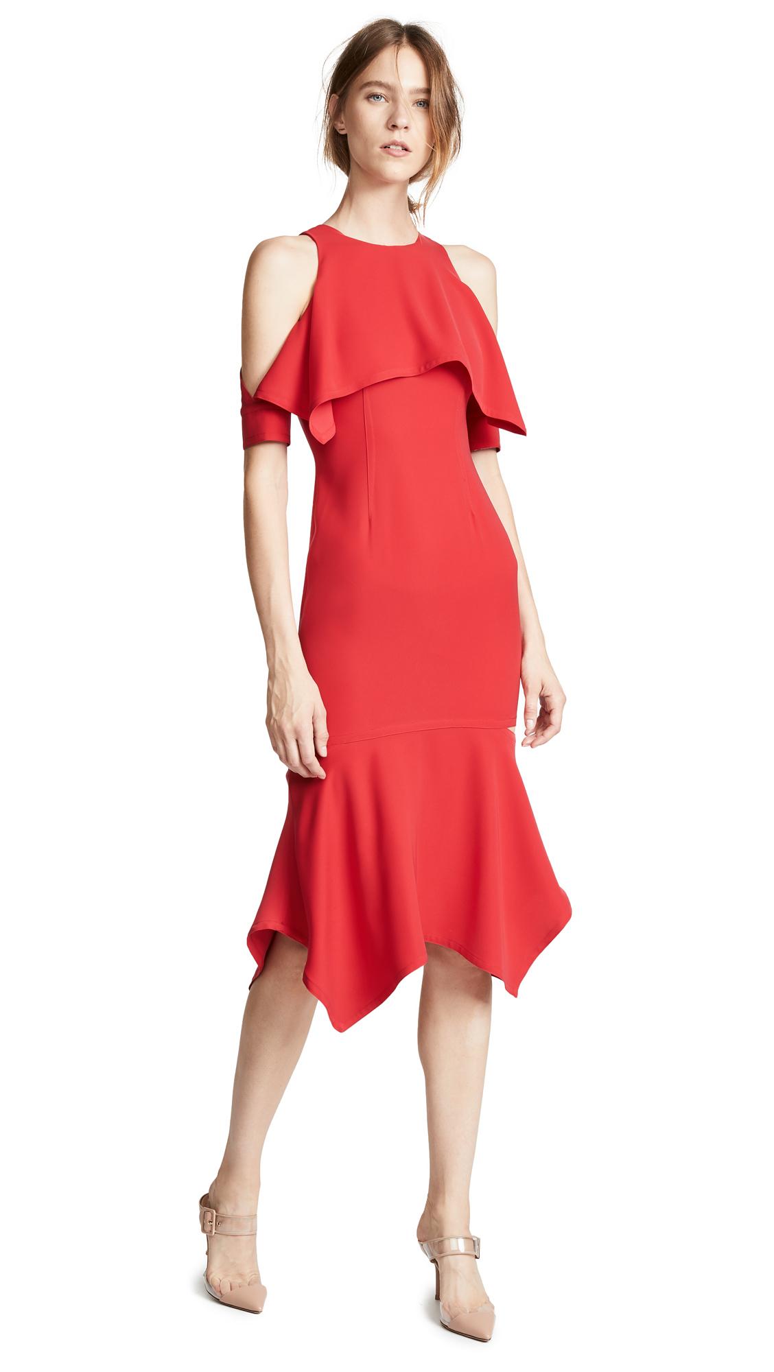 Yigal Azrouel Cold Shoulder Cape Dress