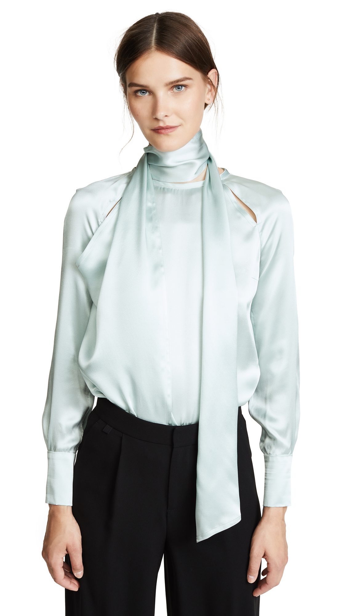 Yigal Azrouel Draped Blouse with Shoulder Slits In Seafoam