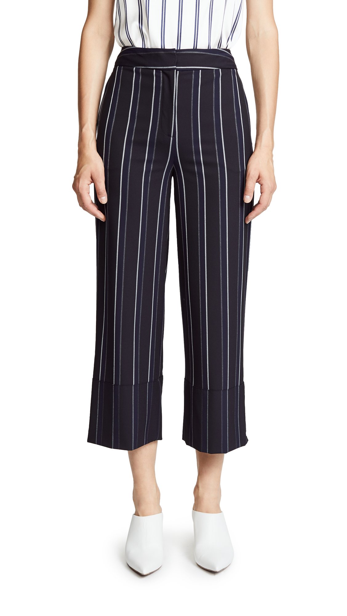 Yigal Azrouel Pinstripe Wide Leg Pants In Midnight Multi