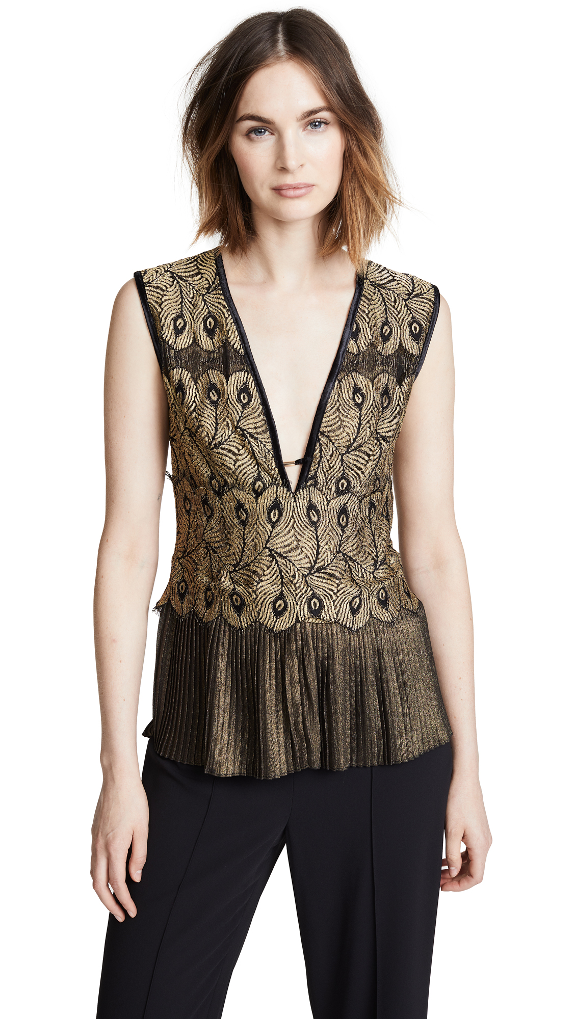 Yigal Azrouel Golden Lace Top with Pleats In Metallic Gold