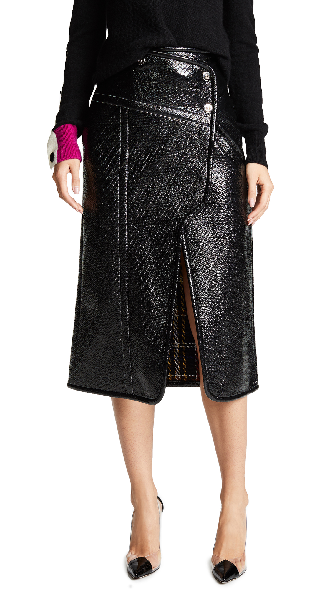 Yigal Azrouel Patent Wrap Skirt In Jet Multi