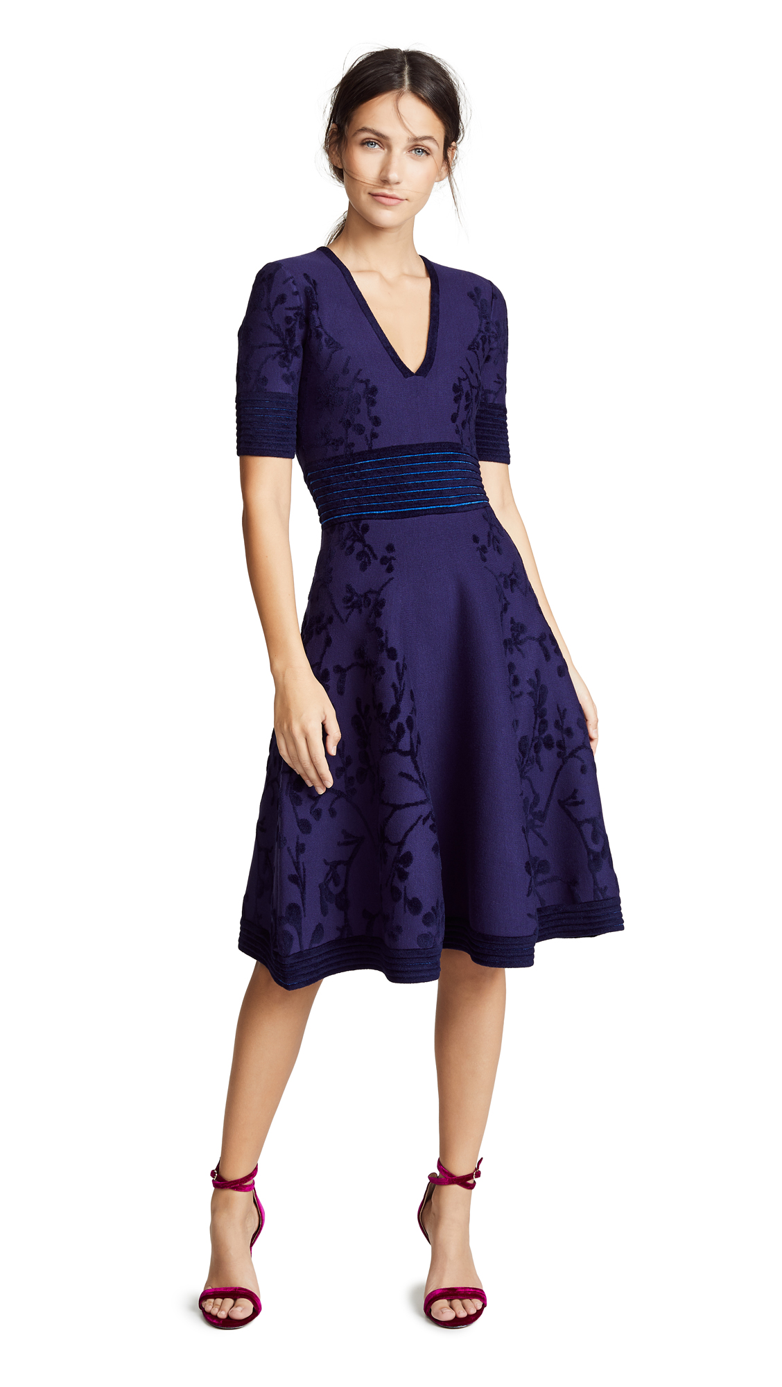 Yigal Azrouel Deep V Neck Jacquard Knit Dress In Midnight