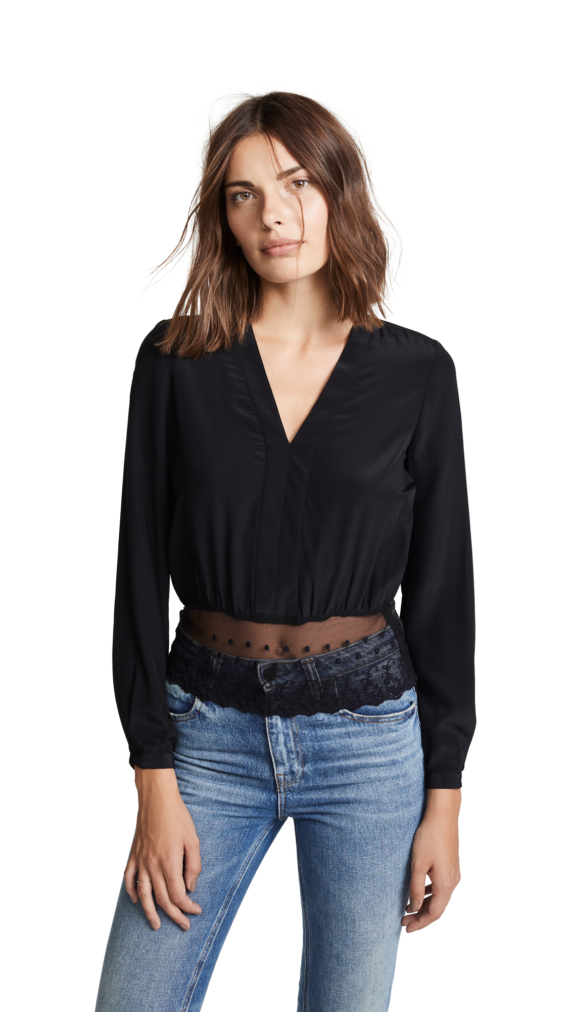Yigal Azrouel V Neck Top - Black