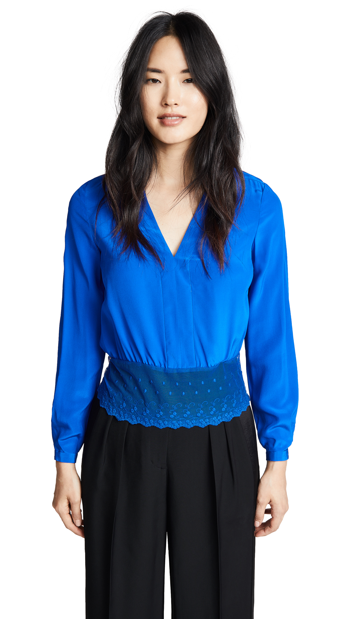 Yigal Azrouel V Neck Top - Blue