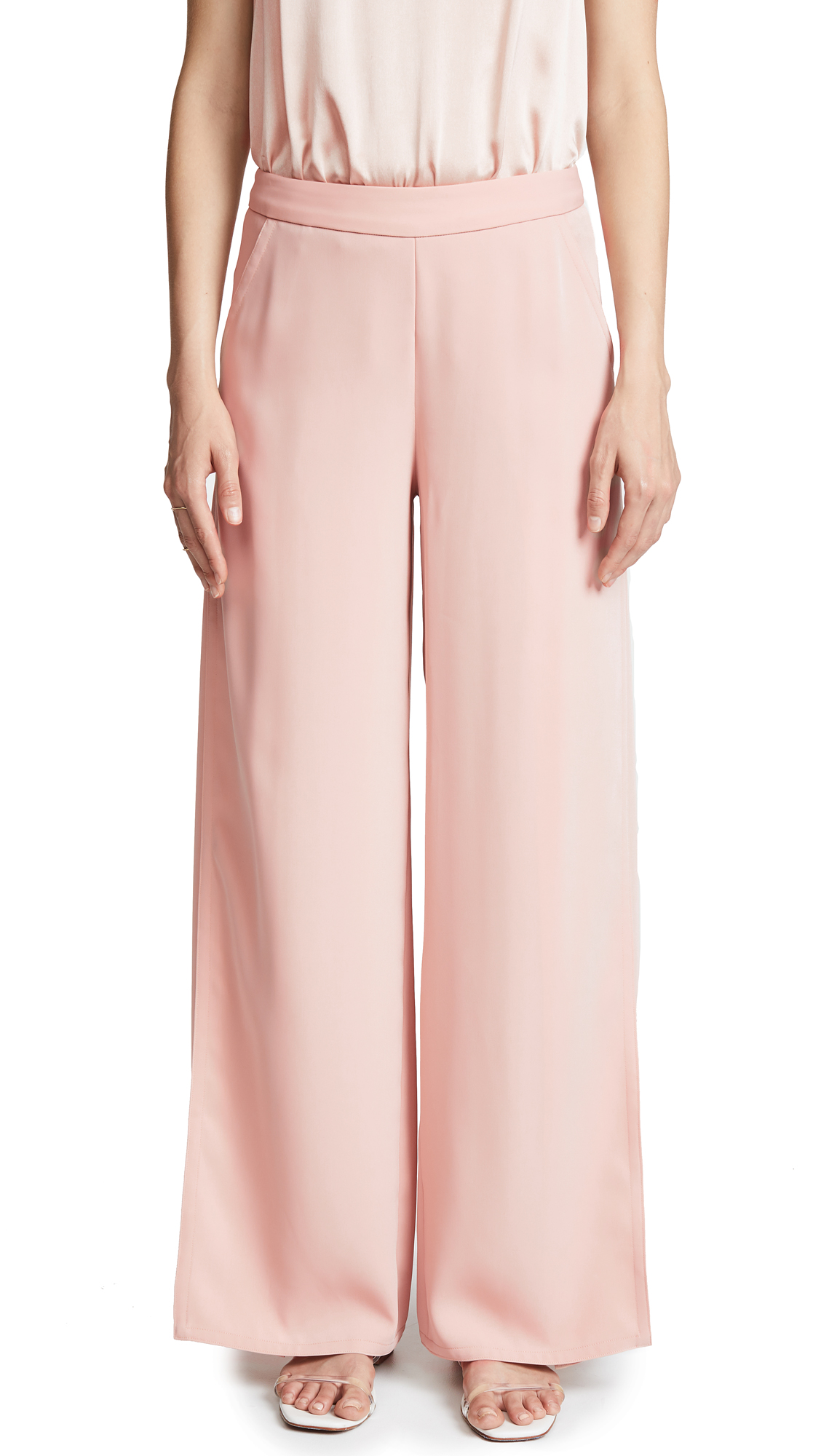 Yigal Azrouel Wrap Front Wide Leg Pants In Blush